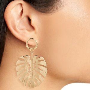 Topshop Gold Leaf Drop Earrings